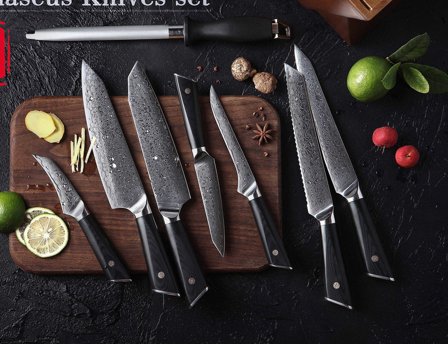 HTC-17 || VG10 Damascus Knife set || Bamboo Box || Stainless Damascus|| Professional  Chef Knife Set || Quality