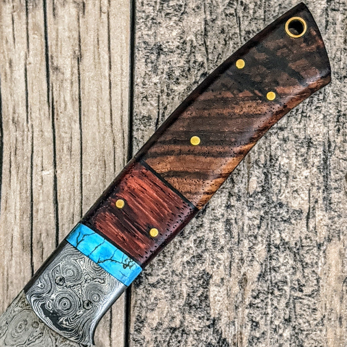 "HTS476 Damascus 13"" CHEF Knife // Turquoise Stone with Walnut and Paduk Handle // Professional Grade // Sharp and Functional"