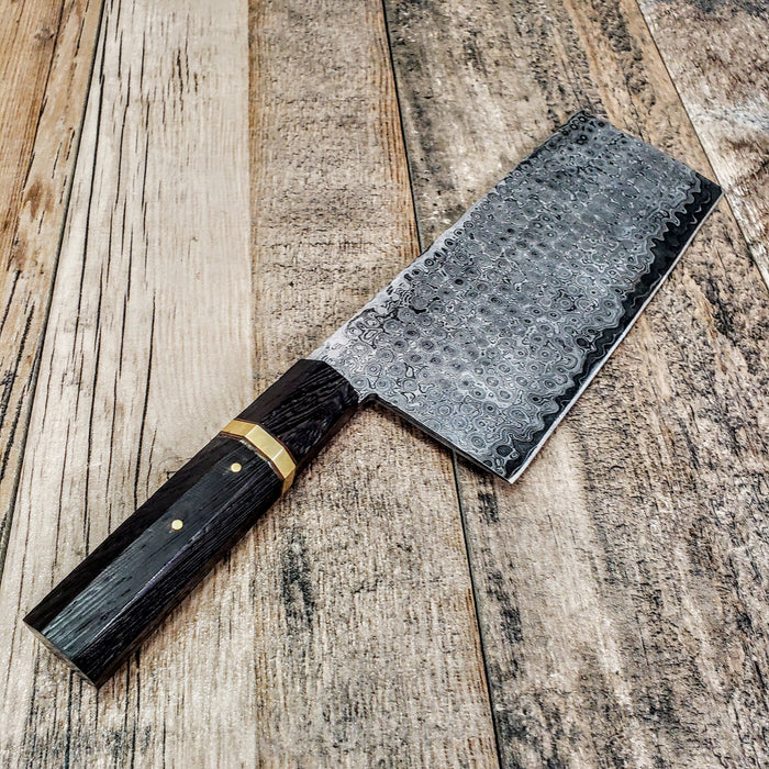 HTCLV1 Thick Sanmai Raindrop Japanese Meat Cleaver Damascus / Kitchen/ Handmade / Custom / Forged / Hand File Spine / Heafty