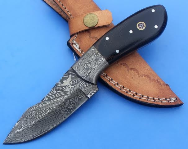 HTS -32 Damascus  Knife/ Skinner / Hunting / Camping / Hand Made / Custom / Micarta Handle