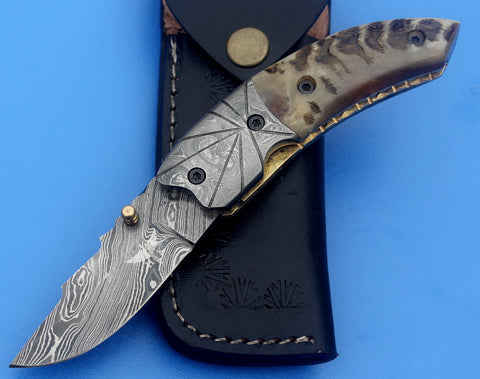 HTNF-1 Damascus Folder / Hand Made / Custom / Forged Damascus handle / Ram Horn