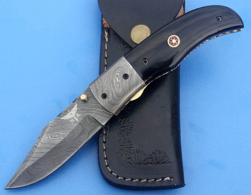 HTK-4 Damascus Folder / Hand Made / Custom / Buffalo Horn handle / Colored stainless steel bolsters