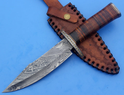 HTK-13  Damascus Knife custom handmade Bowie / Leather Handle / Damascus Fittings - HomeTown Knives