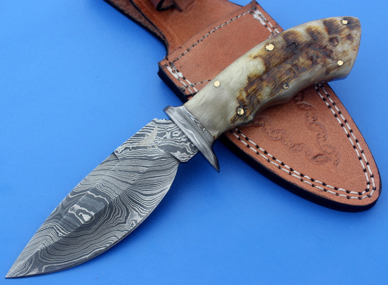 HTK-28 Custom handmade Damascus Skinner Knife / Ram Horn handle / Great quality