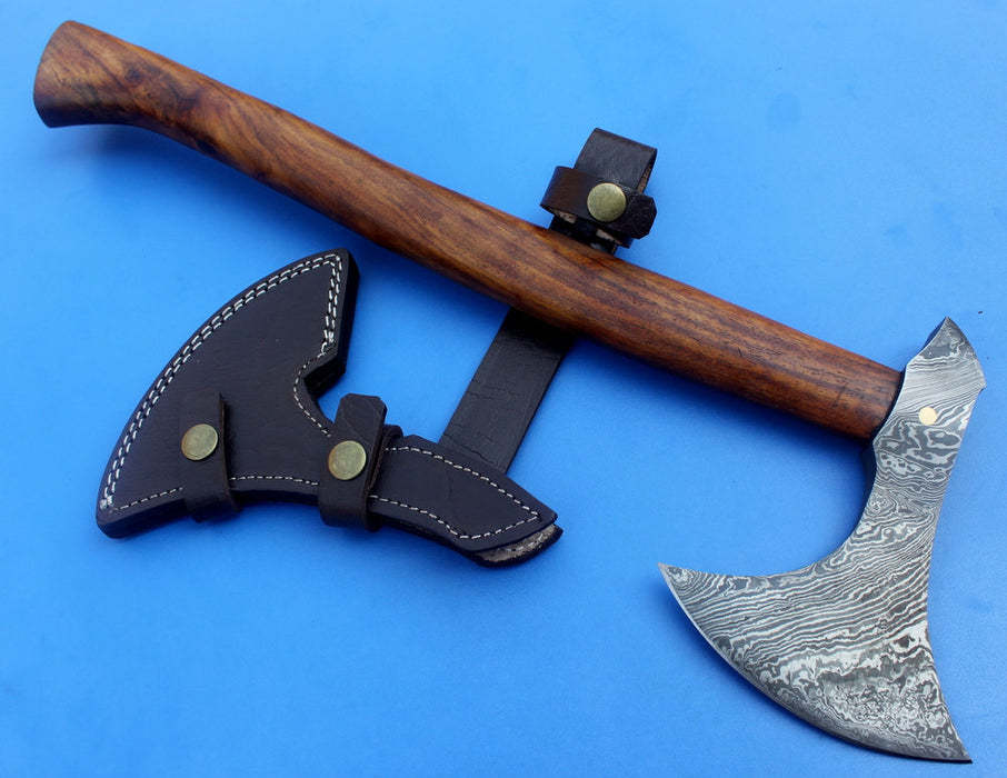 HTK 69 -  Damascus Knife custom handmade tomahawk Axe / Beak Point on back side / Walnut Handle - HomeTown Knives