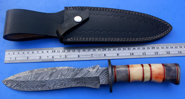 HTK-61  Damascus Knife custom handmade Bowie / Colour Camel Bone Handle / Damascus Fittings