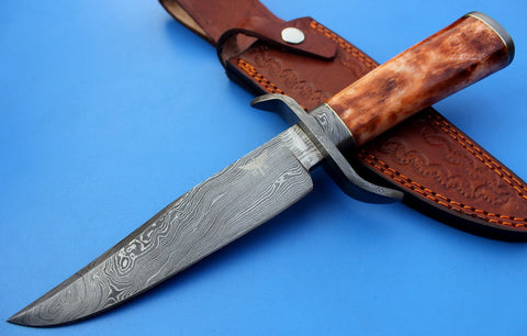 HTK-108  Damascus Knife custom handmade Bowie / Color Camel Bone Handle / Damascus Fittings