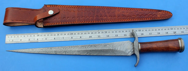 HTK-109 Damascus Knife custom handmade Dagger / Rose wood handle / Toothpick