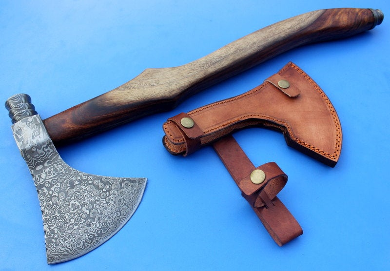 HTK 104 - Custom Handmade Damascus Axe / PEACE PIPE / Hammer