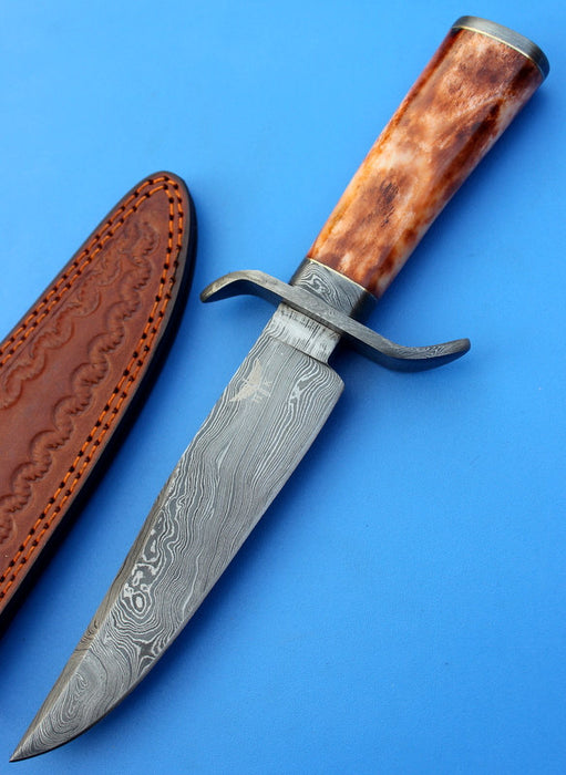HTS-108  Damascus Knife custom handmade Bowie / Color Camel Bone Handle / Damascus Fittings