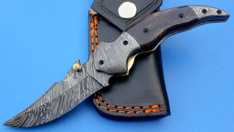 HTK-118  Damascus Knife custom handmade Folder / Color Camel Bone handle / Damascus steel bolster / Liner Lock