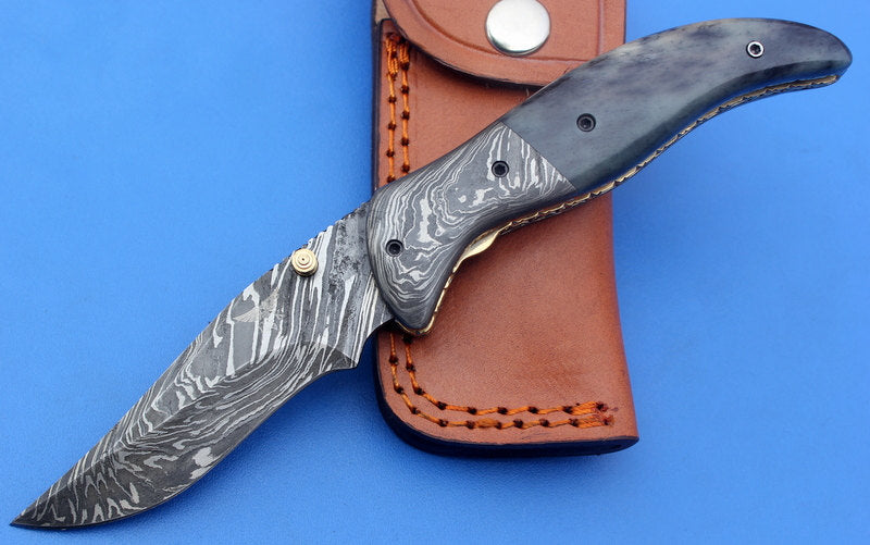 HTK-124 Damascus Folder / Hand Made / Custom / Color Camel Bone handle / Damascus steel bolster / Liner Lock