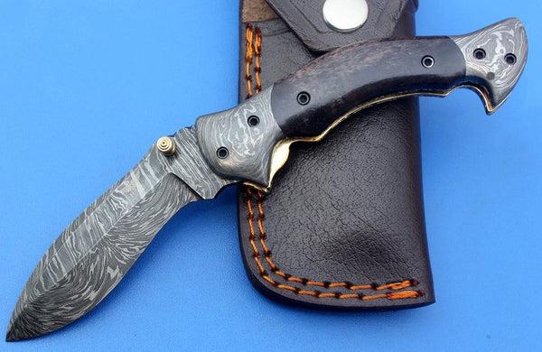 HTK-126 Damascus Folder / Hand Made / Custom / Color Camel Bone handle / Damascus steel bolster / Liner Lock