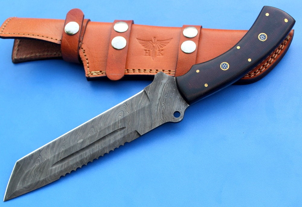 HT-17  Damascus Knife custom handmade Tracker / Micarta handle/ Camping / Survival // ON SALE