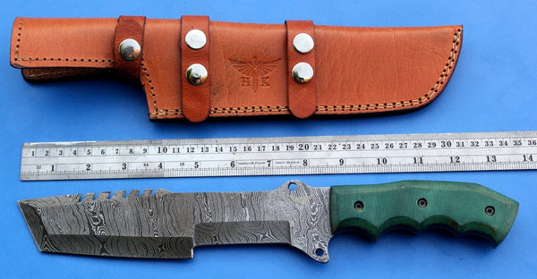 HT-18 Damascus Knife custom handmade Tracker / Micarta handle/ Camping / Survival