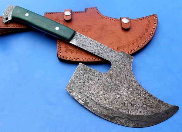 HT-31 Damascus Knife custom handmade Goosewing Axe / Micarta Handle / Camping / Hunting