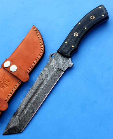 HT-16  Damascus Knife custom handmade Tracker / Micarta handle/ Camping / Survival