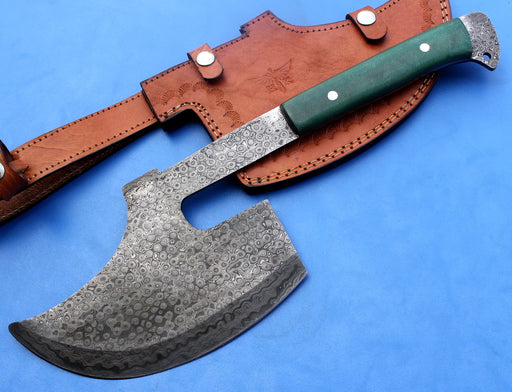 HT-31 Damascus Knife custom handmade Goosewing Axe / Micarta Handle / Camping / Hunting - HomeTown Knives