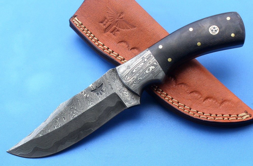 HT-35  Damascus Knife custom handmade Skinner Knife / Micarta / Sanmai Pattern / Great Quality / Camping / Hunting game - HomeTown Knives