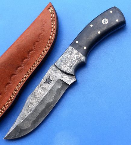 HT-35  Damascus Knife custom handmade Skinner Knife / Micarta / Sanmai Pattern / Great Quality / Camping / Hunting game