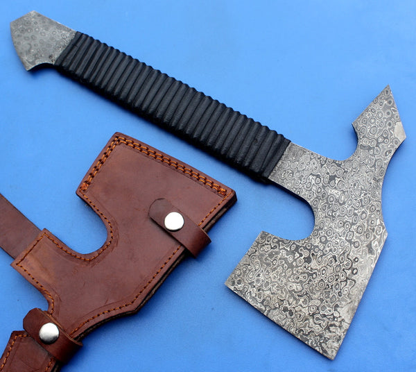 HTK - 139 Custom Handmade Damascus Axe / Camping / Hunting / Full Tang / Leather Wrap / Chisel Edge