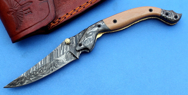 HTK -180 Damascus Folder / Hand Made / Custom / Purple Heart Wood handle / Damascus steel bolster / Liner Lock