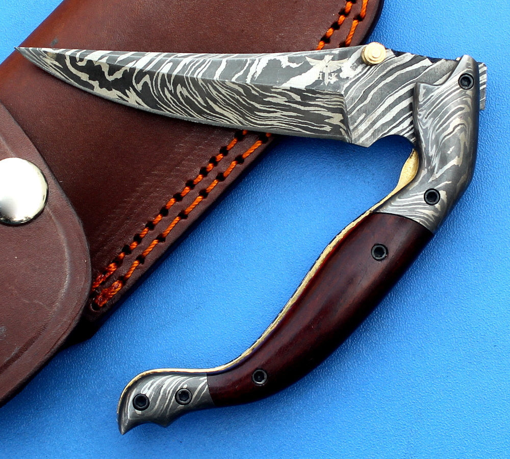 HTK -188  Damascus Knife custom handmade Folder / ROSE Wood handle / Damascus steel bolster / Liner Lock