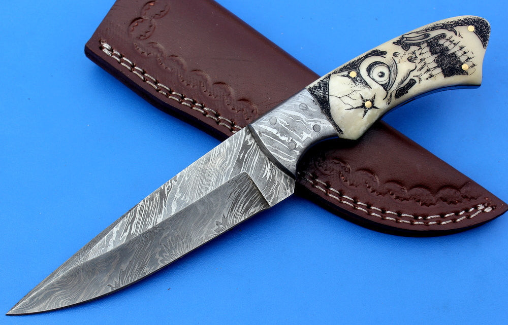 HTK-214-Feather Skinner w/ Scrimshaw (Skull)