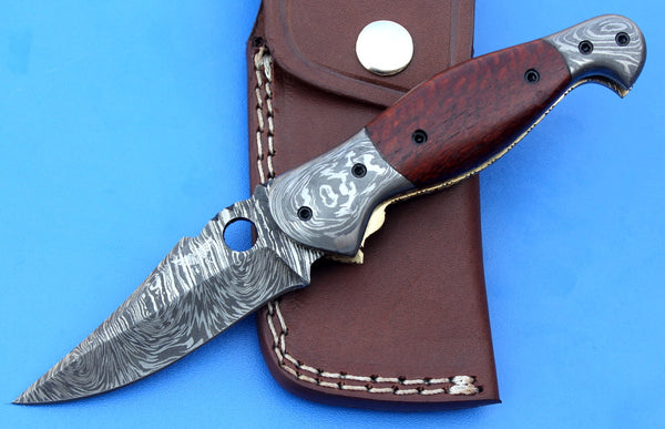 HTK - 215 Damascus Folder / Hand Made / Custom / Lace Wood handle / Damascus steel bolster / Liner Lock