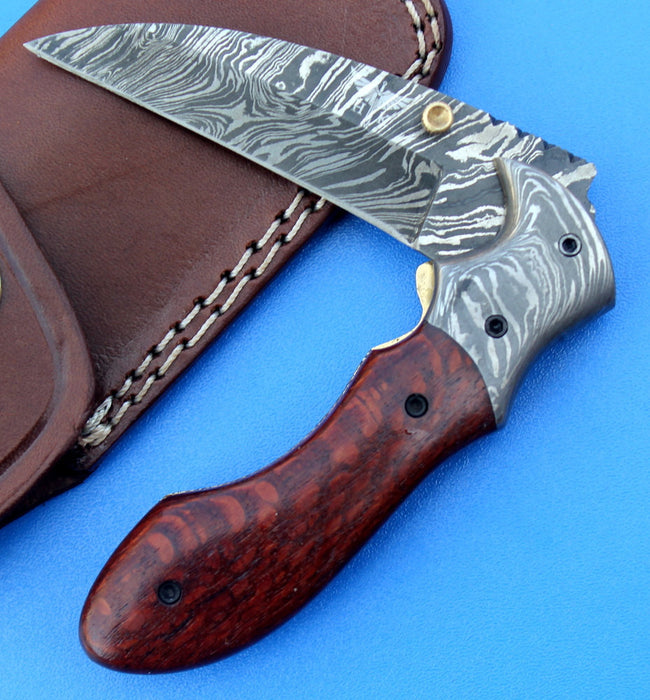 HTK - 216  Damascus Folder / Hand Made / Custom / Lace Wood handle / Damascus steel bolster / Liner Lock - HomeTown Knives