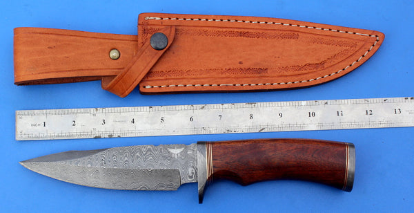 HTK-210 Damascus Knife custom handmade  Skinner /  Rose Wood Handle / Camping / Hunting