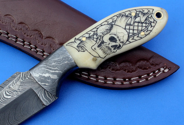 HTK - 212 Damascus  Knife / Custom / Hand Made  / Skinner / Hunting / Camping / Camel Bone Handle / Scrimshaw Art Work / Feather Pattern