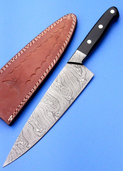 HT-62 (HTK-225) Damascus CHEF Knife / Kitchen/ Handmade / Custom / Forged / Micarta / Hand File Spine / Fighting