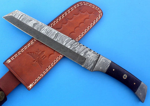 HT-61 Damascus REVERSE TANTO / Tactical / Handmade / Custom / Forged / Micarta / Hand File Spine / Fighting