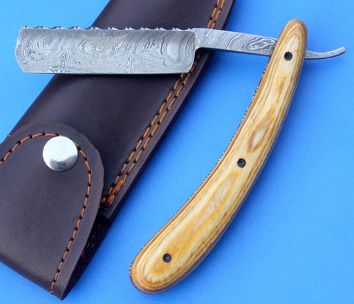 HTK 231 Damascus Straight Razor  / SHAVE / Handmade / Custom / Forged / Olive Wood Handle / Hand Filed Spine / UTILITY - HomeTown Knives