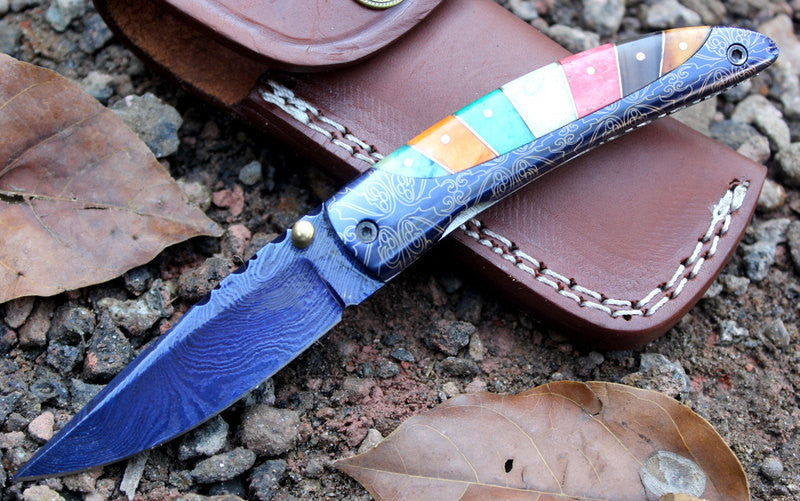 HTK-244 Damascus Knife custom handmade Folder / Colour Bone handle / Damascus bolsters