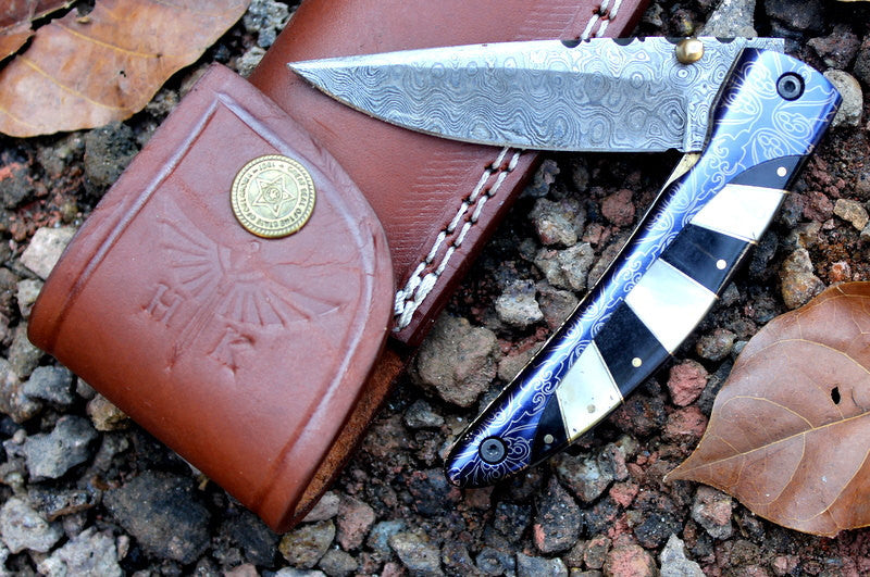 HTK-245 Damascus Knife custom handmade Folder / Buffalo Horn handle / Damascus bolsters - HomeTown Knives