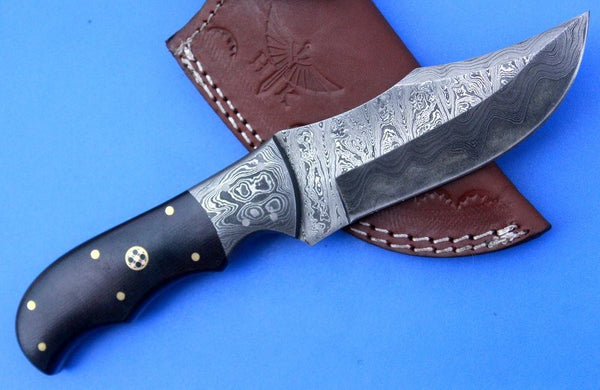 HTK -247 Damascus  Knife/ Skinner / Hunting / Camping / Hand Made / Custom / Micarta Handle