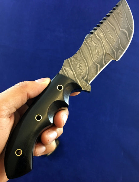 HTN 14 Damascus knife / Tracker / Hand Made / Custom / Forged Damascus / High Polished / Micarta handle/ Survival Tool / Bushcraft / Field