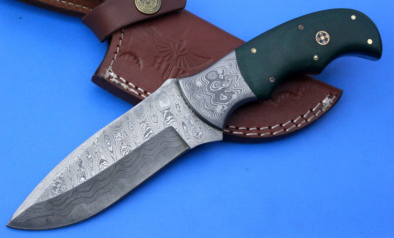 HTK-255a Damascus Knife/ Skinner / Hunting / Camping / Hand Made / Custom / Micarta Handle