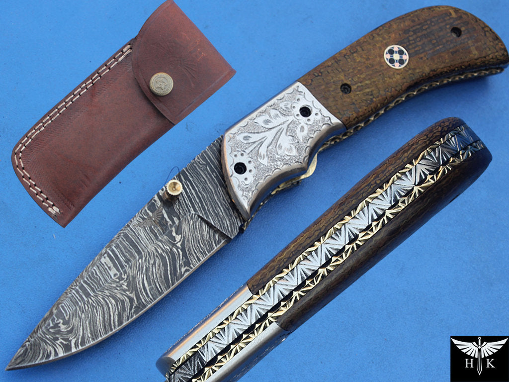 HTK-265  Damascus Knife custom handmade Folder / Micarta handle / Stainless steel bolster / Liner Lock