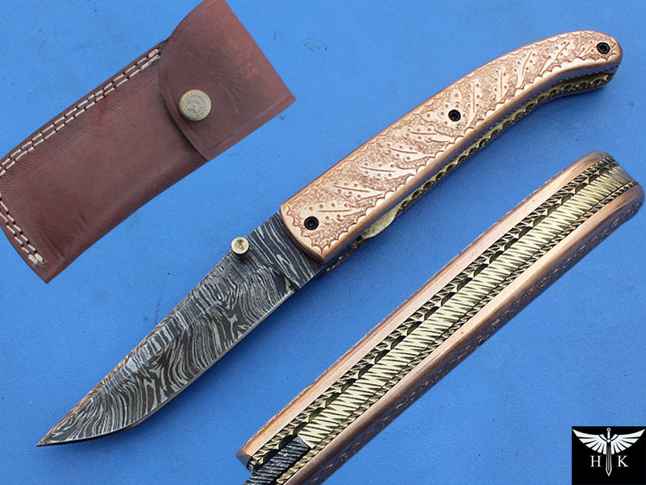 HTK-268-Folder w/ Hand Engraving on Copper - HomeTown Knives