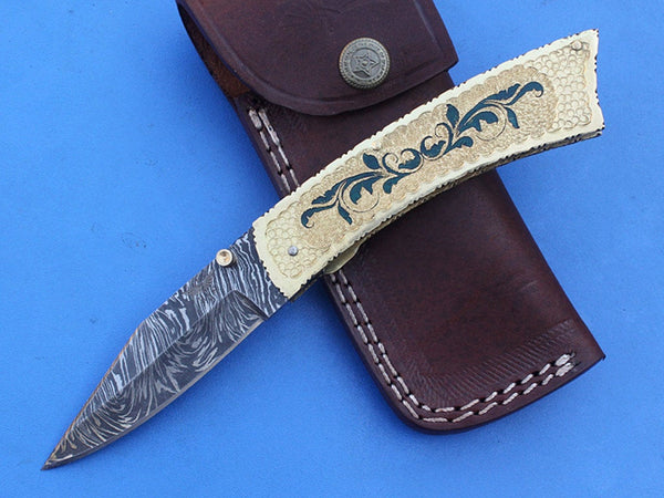 HTS-269 Engraved Brass Damascus knife  Custom Hand Made / Brass handle  / Liner Lock