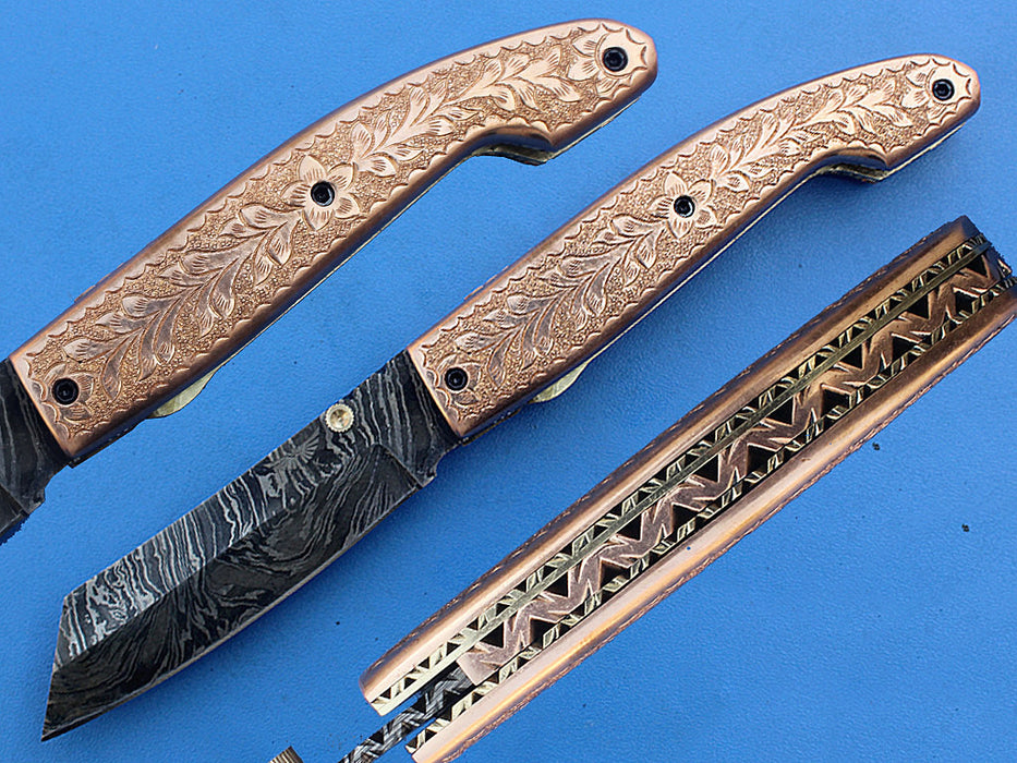 HTK-271-Folder w/ Hand Engraving on Brass - HomeTown Knives