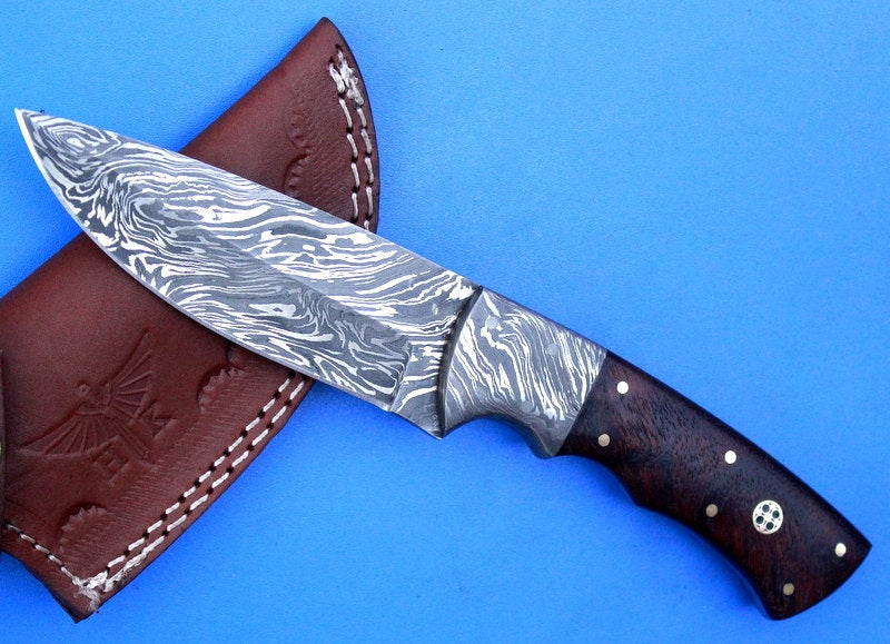 HTK -253 Damascus  Knife/ Skinner / Hunting / Camping / Hand Made / Custom / Rose Wood Handle - HomeTown Knives