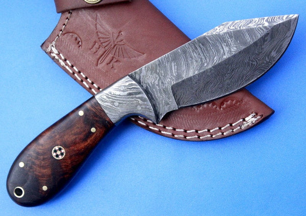 HTS-52 Damascus  Knife/ Skinner / Hunting / Camping / Hand Made / Custom / Rose Wood Handle