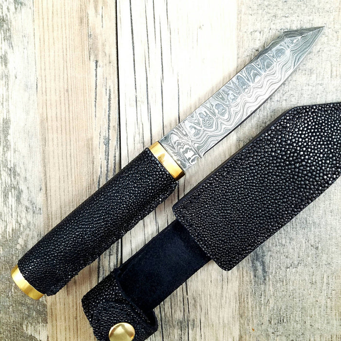 HTN12 Japenese Reverse Tanto with stingray wrapped handle.  Sanmai 3 layered Damascus with 1095 core. - HomeTown Knives
