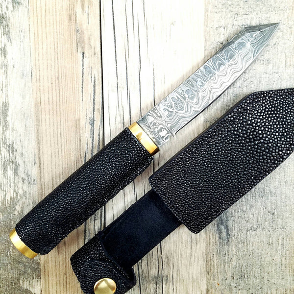 HTN12 Japenese Reverse Tanto with stingray wrapped handle.  Sanmai 3 layered Damascus with 1095 core.