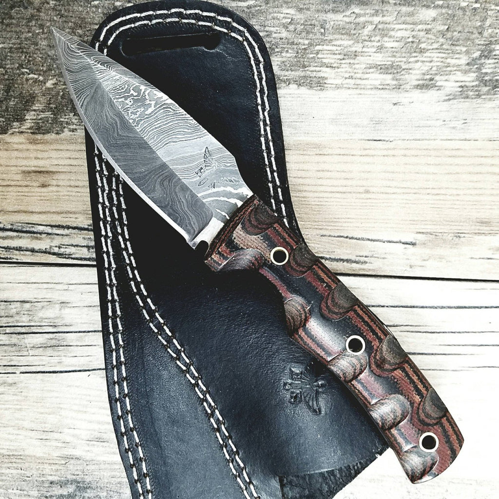 HTN-13 Damascus Knife custom handmade Fire Skinner  / Micarta / Blade / Great quality horizontal Sheath