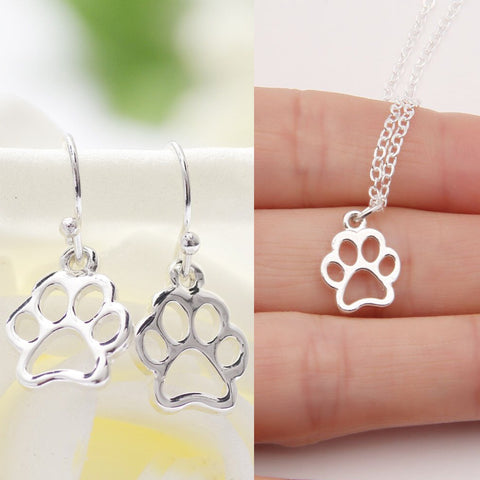 Hollow Paw Print Earrings & Necklace Set